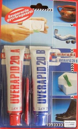 Uverapid 20 kétkomponensű epoxy ragasztó 25g A, 25g B
